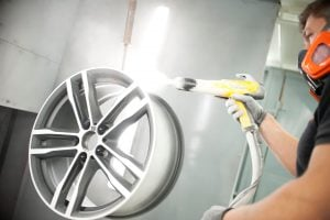 Powder coat alloy wheel refurbishment